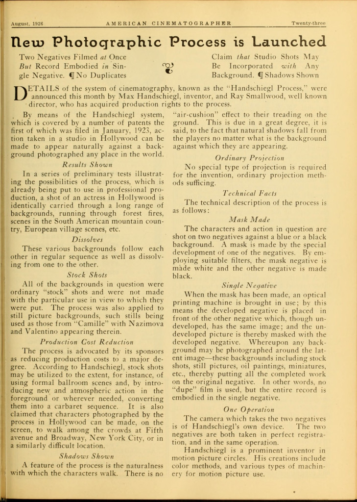 Handschiegl Process discussed in American Cinematographer, August 1926
