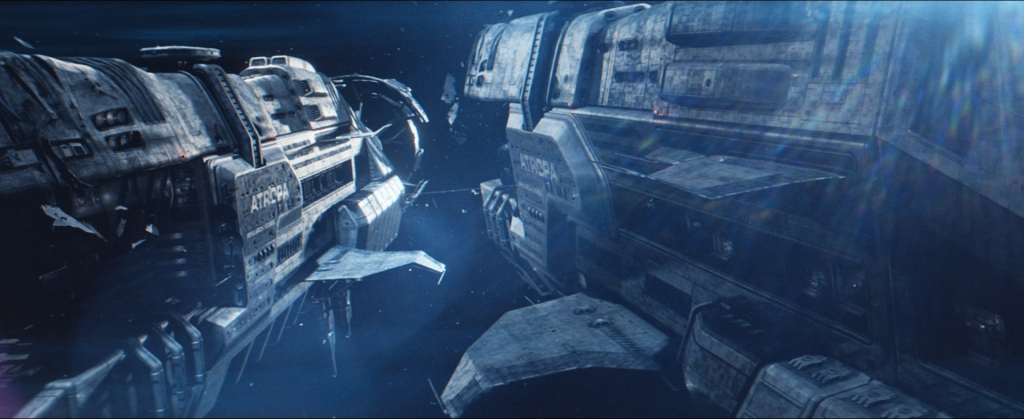 Freeman crosses between spaceships on a 'mag-tether' cable, in this shot created by a team at The Light Works, led by visual effects supervisor Tobias Richter.