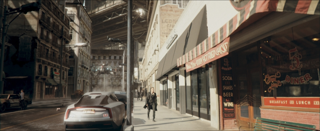 For shots of Cole undertaking an investigation on Earth, BluFire Studios added CG extensions to live-action plates shot on location in Los Angeles.