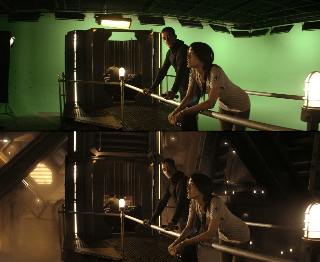 Cole Freeman (Tony Bonaventura) and Moira Freeman (Jeannie Bolét) meet in the Core. Production designer Alec Contestabile built the walkway and control room, which visual effects expanded using CG set extensions.