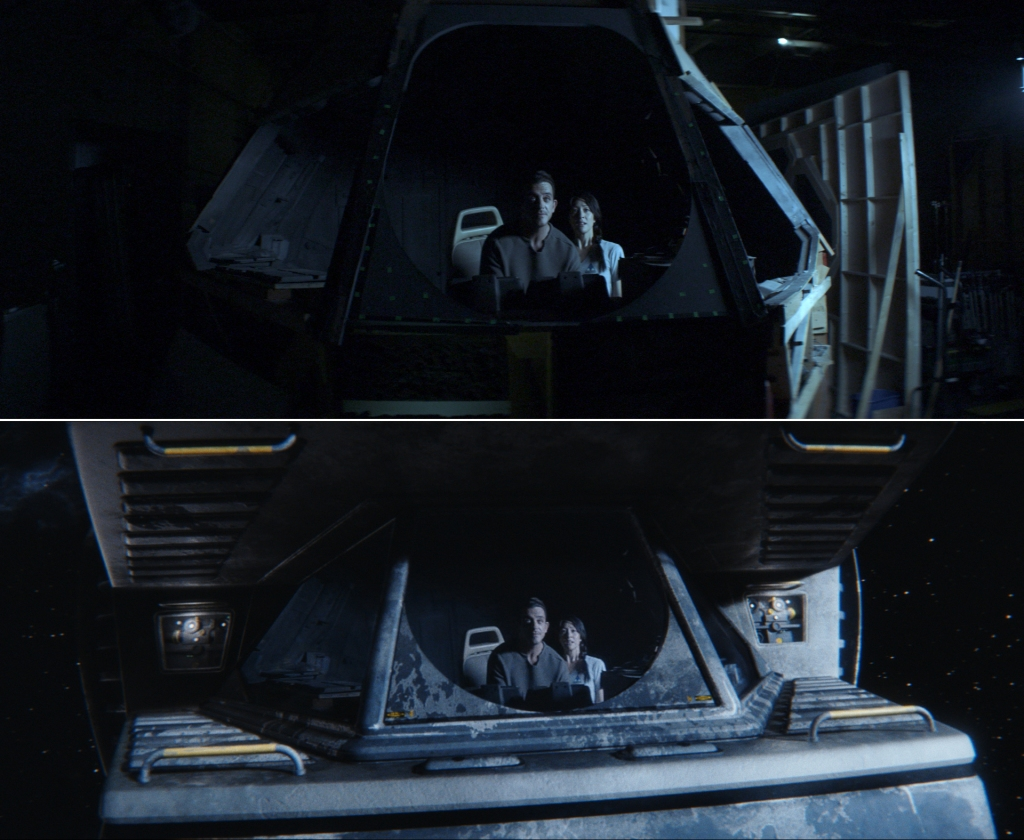 Visual effects blended live-action of the Morinda's cockpit with a CG spacecraft exterior, in a sweeping pullback shot.