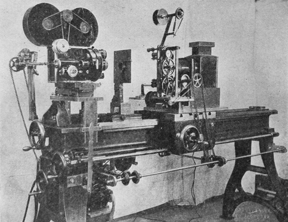 The Gregory-Barber optical printer was a precision-built optical printer capable of head movement to within a tolerance of one eight-hundredth of an inch. Photograph: Journal of the Society of Motion Picture Engineers, April 1928.