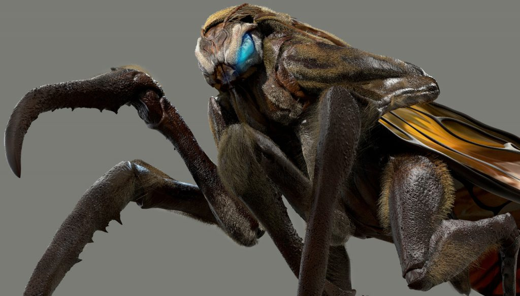 In its Mothra designs, Legacy Effects referenced the aggressive stance of mantises and certain species of Japanese wasp.