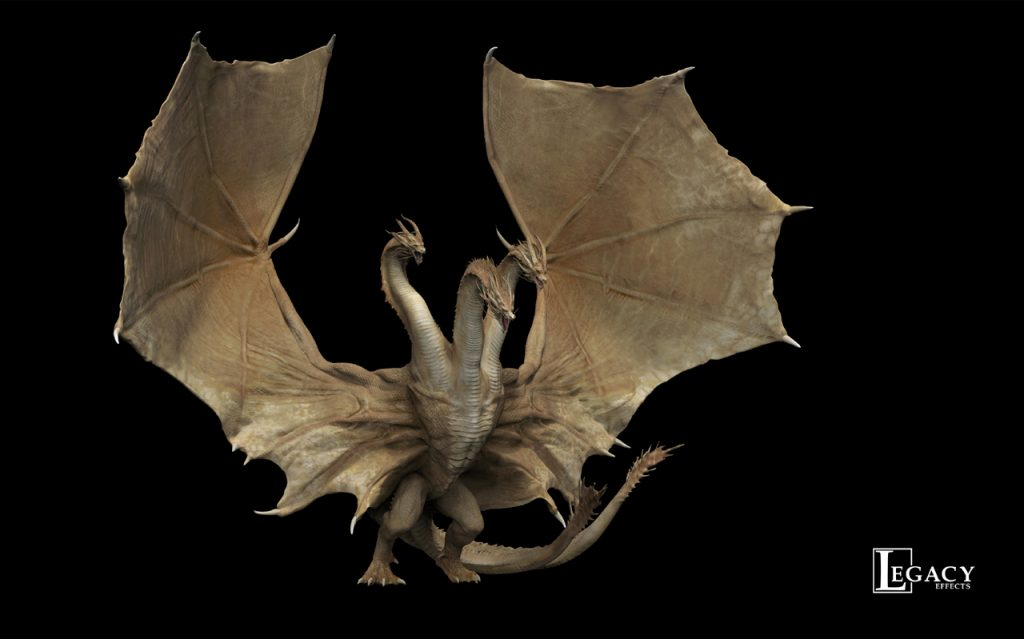 Concept design for Ghidorah, created by artists at Legacy Effects, developed from an original design by concept artist Simon Lee.