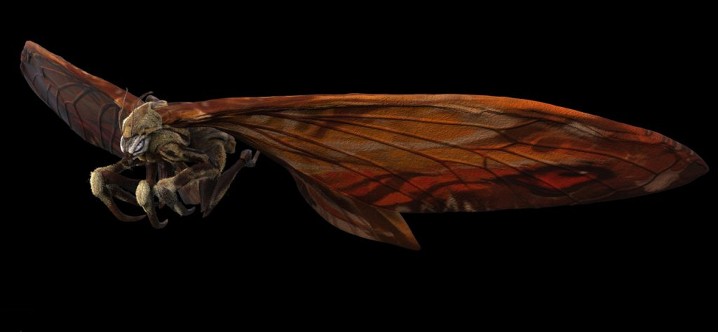 Legacy Effects balanced the inherently fragile look of moth wings with the need to portray Mothra's vast size and strength.