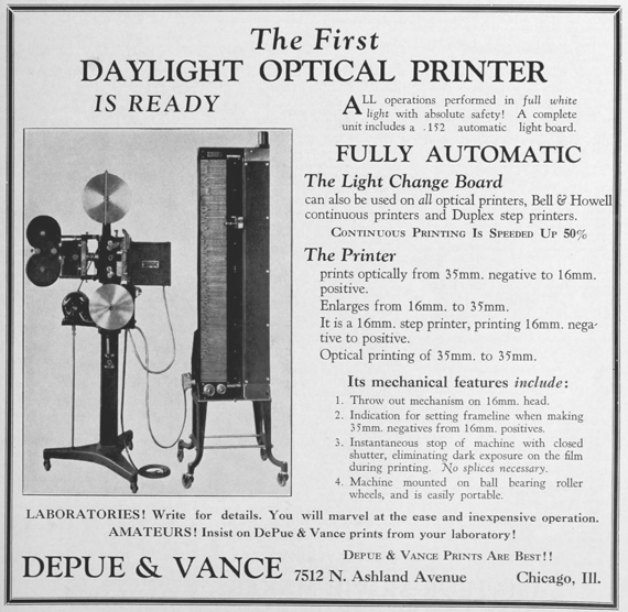 Press advertisement from 1928 for a Depue-Vance daylight optical printer.