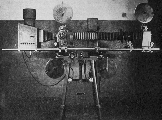 The 1927 Duplex optical printer Type A featured a built-in special effects attachment and matte box. Photograph: Journal of the Society of Motion Picture Engineers, September 1927.