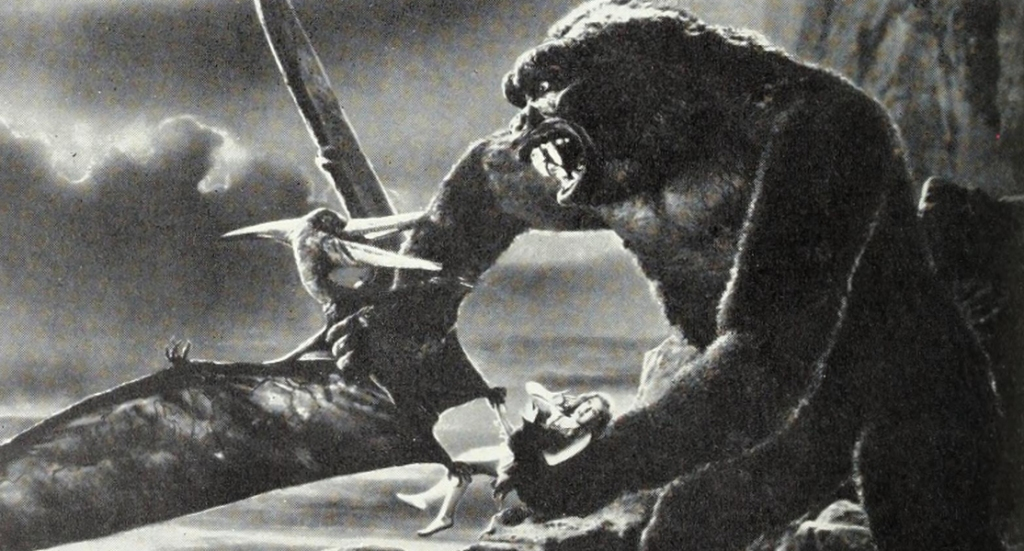 King Kong grapples with a pterodactyl