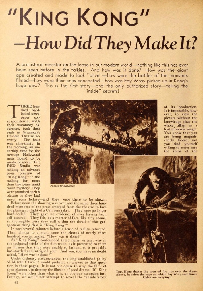 """""""'King Kong' - How Did They Make It?"""" - Movie Classic, May 1933"""