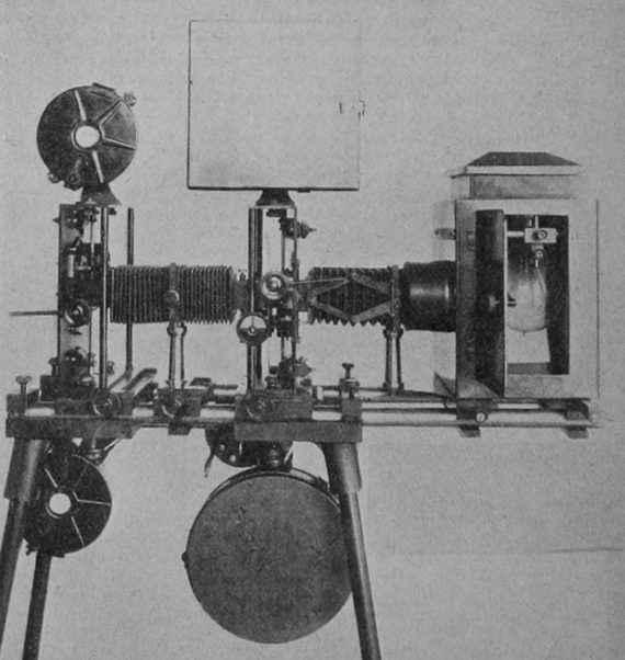 An early optical printer. Photograph: Moving Picture World, 23 March 1918.