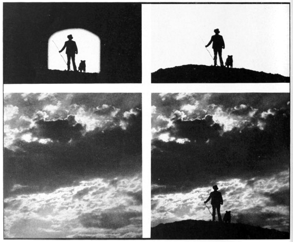 """For this RKO composite shot, the original live action (top left) was shot on a stage at Universal. The man and dog were further isolated by what would later be known as a """"garbage matte"""" (top right). This was achieved by projecting the original footage on to a white layout board, drawing in the rest of the silhouette by hand, and rephotographing the result. Cosgrove Special Effects combined the result with a stock shot of a sunset sky (bottom left) using an optical printer, with the final composite image (bottom right) achieved after much experimentation with different light levels and a range of high contrast films. Image source: International Photographer, December 1940."""