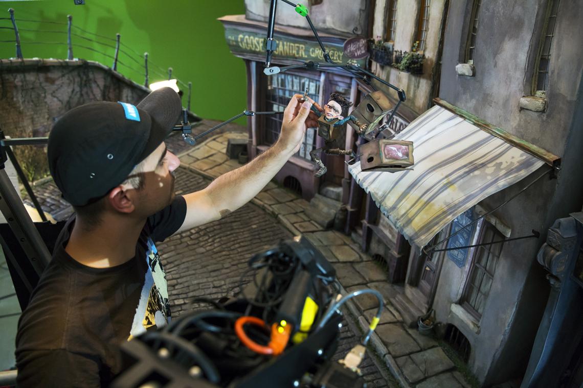 Danail Kraev animates the Eggs puppet in a Cheesebridge street set.