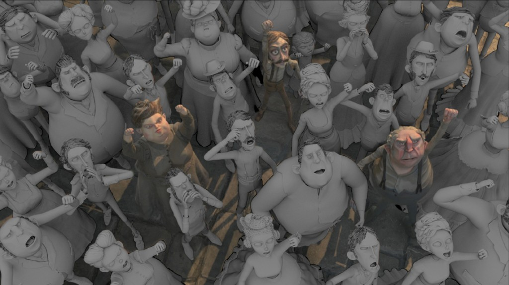 """CG """"extras"""" were used to swell the ranks of stop-motion characters in crowd scenes."""