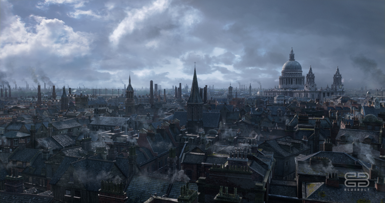 Period vista of London created by BlueBolt for The Irregulars