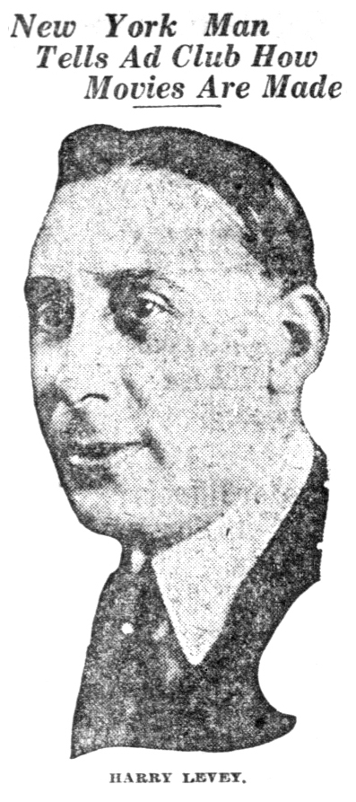 Harry Levey - photograph from Indianapolis Times, March 10, 1921.