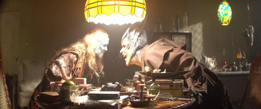 Atum Vine (Tobias Jelinek) confronts the demon Cornelia (Danielle Chuchran) in Fire City: End of Days