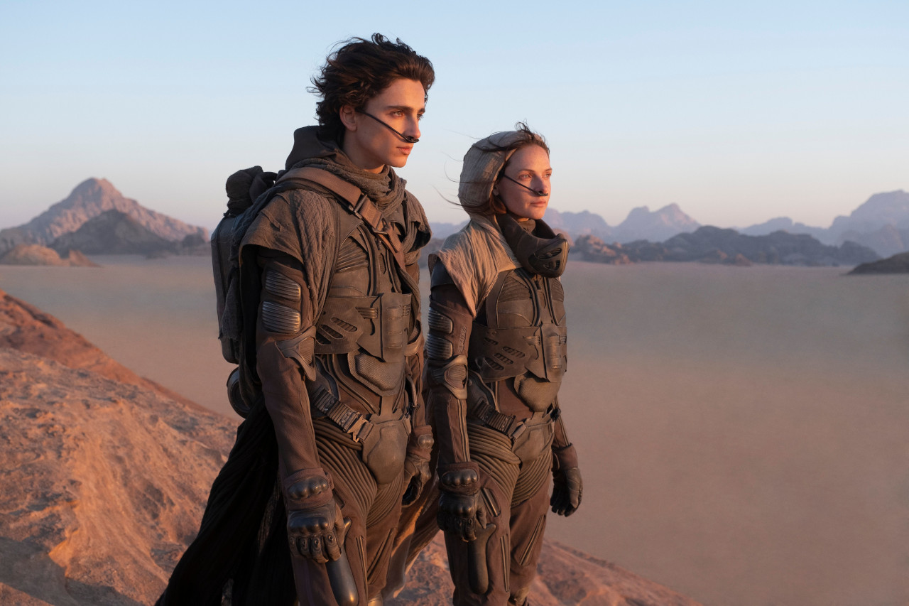 """Timothee Chalamet and Rebecca Ferguson star in """"Dune,"""" directed by Denis Villeneuve. Photograph courtesy of Warner Bros. Pictures and Legendary Pictures."""